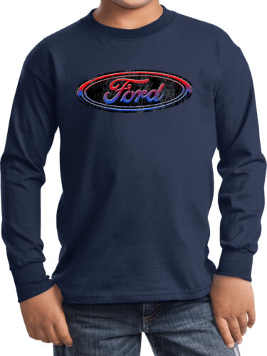 Kids Ford Oval T-shirt Distressed Logo Youth Long Sleeve