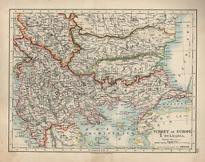 1909 Map European Russia Turkey In Europe Bulgaria Ebay