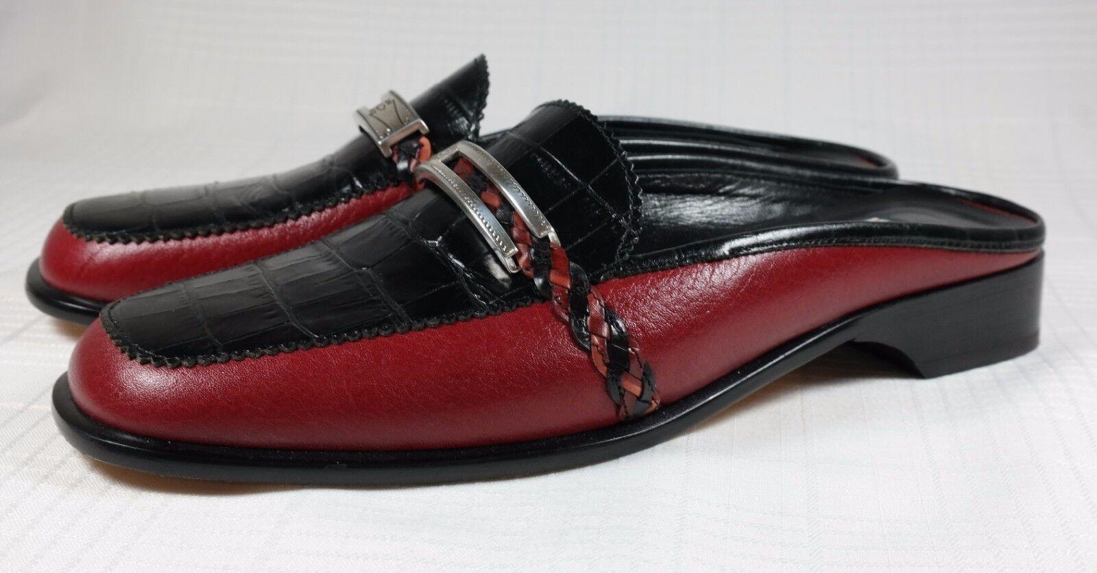 BRIGHTON JODI 7.5 M rouge Croc Embossed Leather Sandals chaussures Slide Clogs