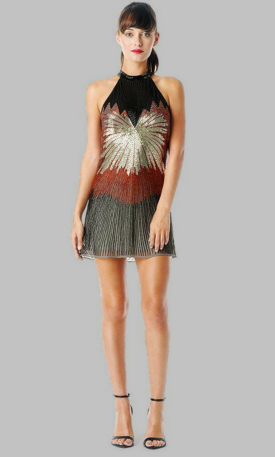 NWT PARKER damen Silk Sleeveless A-Line Lined Beaded Embellished Dress S