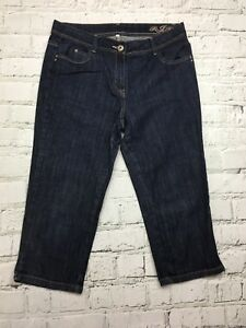 Womens-DEBENHAMS-Dark-Washed-Cropped-Denim-Jeans-Size-14