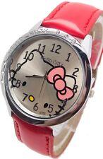 Reloj de pulsera niños Niñas Hello Kitty Rojo analógico de cuero correa de acero de vuelta B