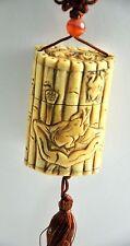 Vintage Bone Frog Lily Bamboo Inro Netsuke Box Hanging Charm Case Storage Pouch