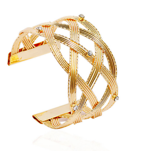 Women-Gold-Plated-Crystal-Hollow-Weaved-Punk-Cuff-Bracelet-Bangle-Party-Jewelry
