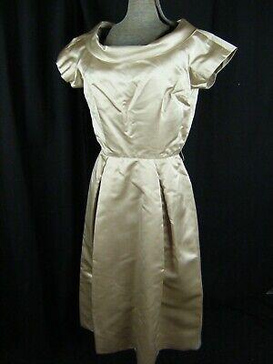 AnpassungsfäHig Mollie Parnis New York Vtg 50er Jahre Beige Seide Offen Knöpfe Rücken Dress-bust Auf Dem Internationalen Markt Hohes Ansehen GenießEn