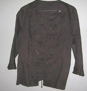 Veste marron taille 40 KIABI fermeture par liens motifs brodés avec strass