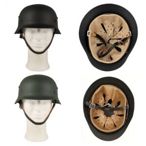 Stahlhelm-WW-II-Leder-Innenteil-BW-Wehrmacht-Stahl-Helm-Army-schwarz-oliv-chrom