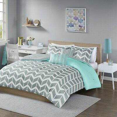 Cute Twin Comforter Set Dorm Room, Grey Bedding Teenage Girl