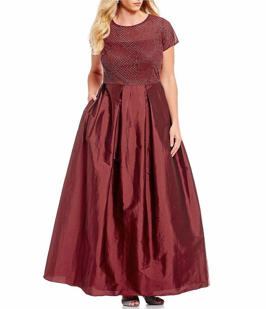 ADRIANNA PAPELL® Plus Size 22W, 24W Burgundy Beaded Bodice Gown NWT  289