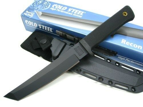 Cold Steel Tactical Black Recon Tanto Straight Fixed VG-1 Knife + Sheath 13RTKJ1