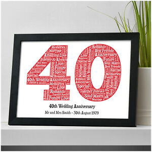 40th Wedding Anniversary Gifts.Details About Personalised 40th Wedding Anniversary Gifts Ruby Wedding Anniversary Print Gifts