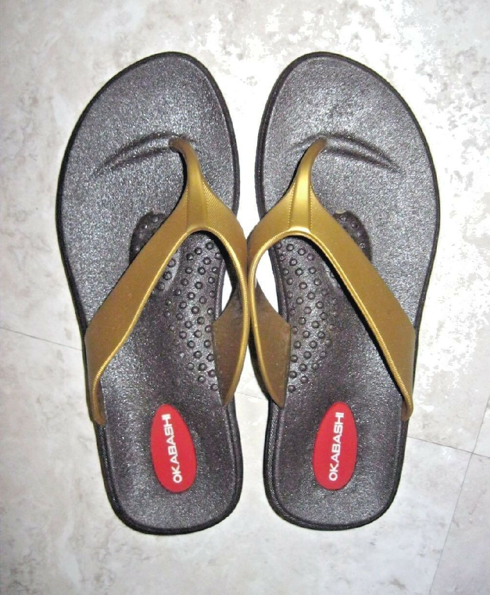 Women's OKABASHI Gold Brown RUBBER 5-5.1/2 Flip Flop Sandals Size 5-5.1/2 RUBBER  EUC 9deac7