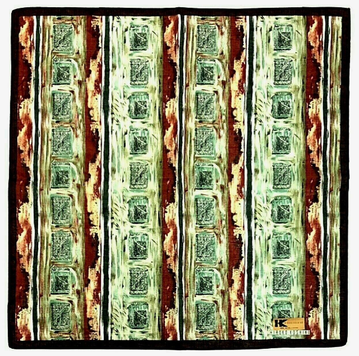 Hanky HIROKO KOSHINO stripes and blocks pattern handkerchief Green