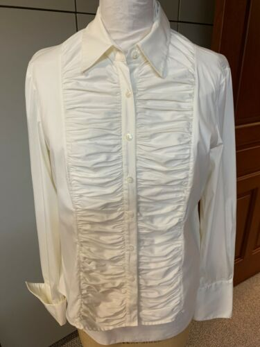 Lafayette 148 Womens Shirt 14 Off White Stretch Co