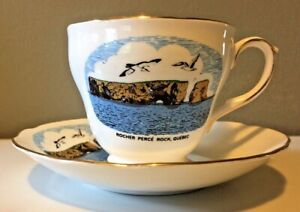 CUP-AND-SAUCER-ROCHER-PERCE-ROCK-GASPE-QUEBEC-CANADA-DUCHESS-BONE-CHINA-ENGLAND
