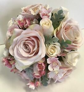Silk wedding bouquet pale dusty pink ivory roses rose blossoms image is loading silk wedding bouquet pale dusty pink ivory roses mightylinksfo