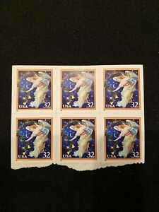 USPS POSTAGE STAMPS CHRISTMAS ANGEL BLOCK OF 6, 32 CENT STAMPS UNUSED