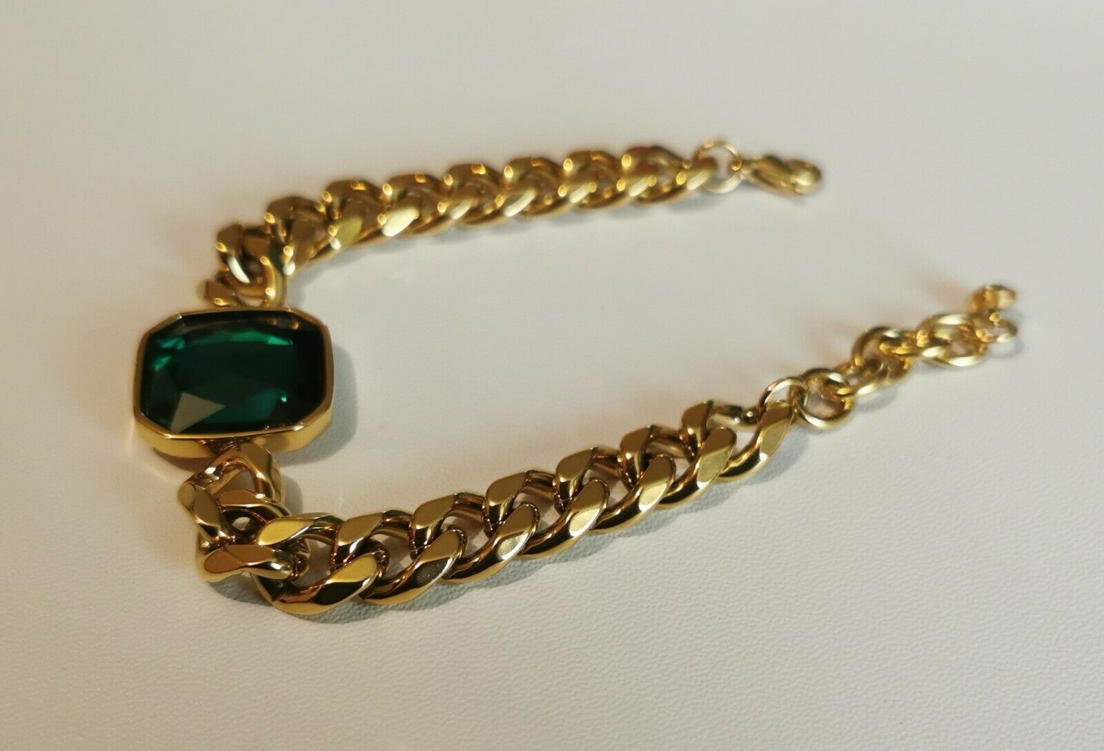 Bracelet 18 K Gold On High Quality stainless Steel Emeral Simulated Stone