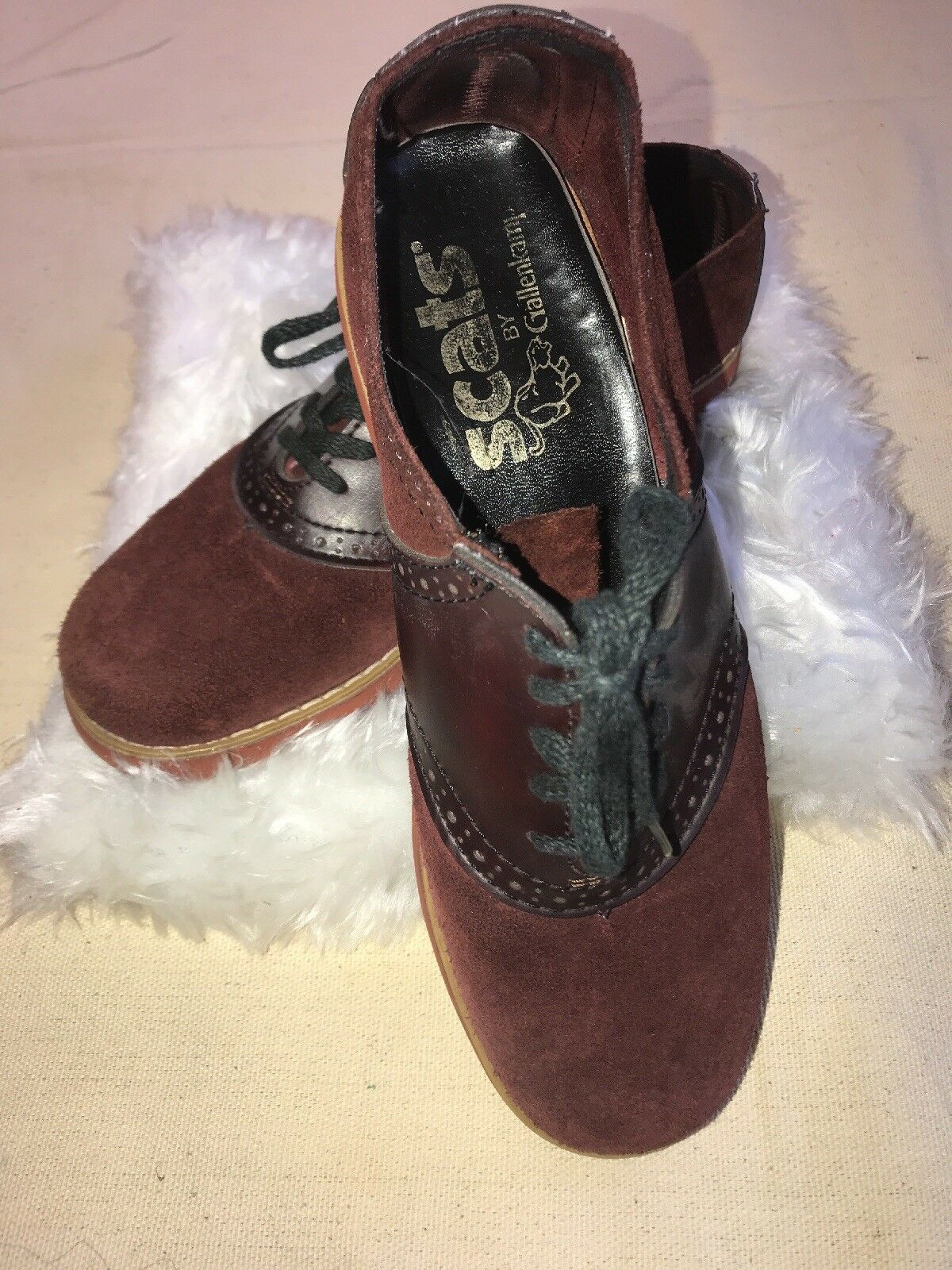 GALLENKAMP Vintage SuedeLeather Oxford Shoes Burgandy Size 7