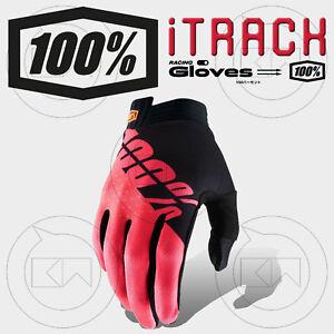 GUANTI-100-ITRACK-MX-BLACK-FLUO-RED-ADULTO-MOTOCROSS-ENDURO-OFF-ROAD-ATV-MTB