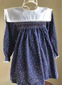 Details about 1960's Polly Flinders Girls 4T 4 Blue Ditsy Floral Smocked  Dress Free Shipping