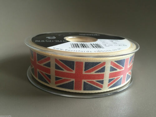 Berisfords Grosgrain Ribbon Union Jack 25mm Vintage Blue Green Grey Red