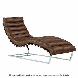 Superbe ... Leather Chaise Lounge Chair Mid Century Modern Lounger