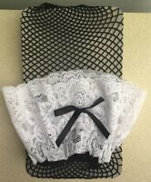 Womens Black Fish Net Thigh High Stockings White Lace Top With Bow O/s