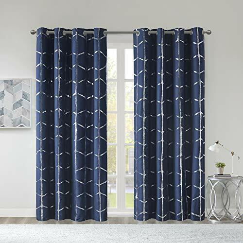 "Intelligent Design 63/"" Total Blackout Metallic Printed Curtain Panel Blue"