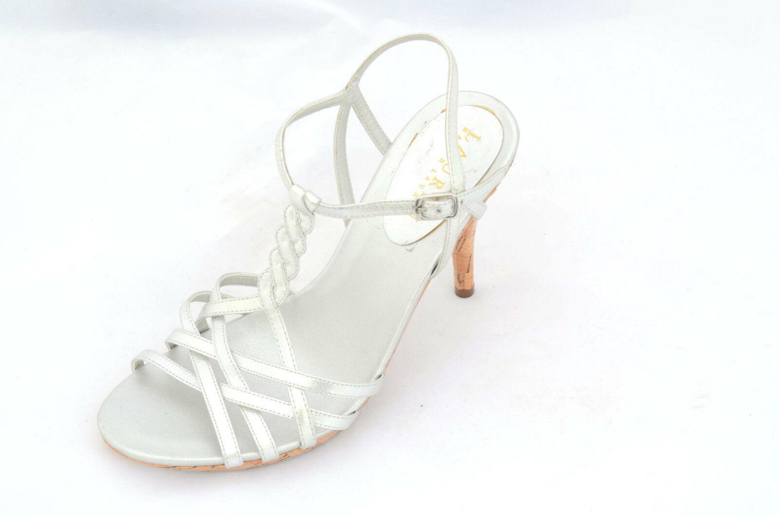 Ralph Lauren para Mujer con Tiras Sandalia Metálico Piel de cabritilla Plata 6M