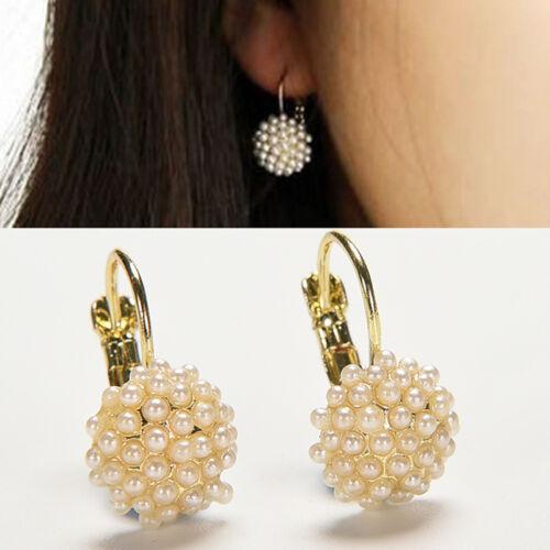 Pendientes perlas moda mujer Pendientes de botón gota chapados en oro elegan rf