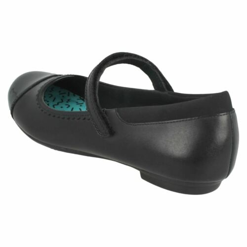 Filles Clarks Bootleg tizz Ace Bl Noir Cuir Mary Jane Style École Chaussures