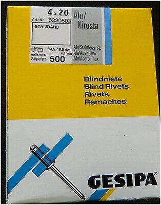 Gesipa Blindnieten 4x20 Alu//Edelstahl Flachkopf 4,0x20 500 Stk