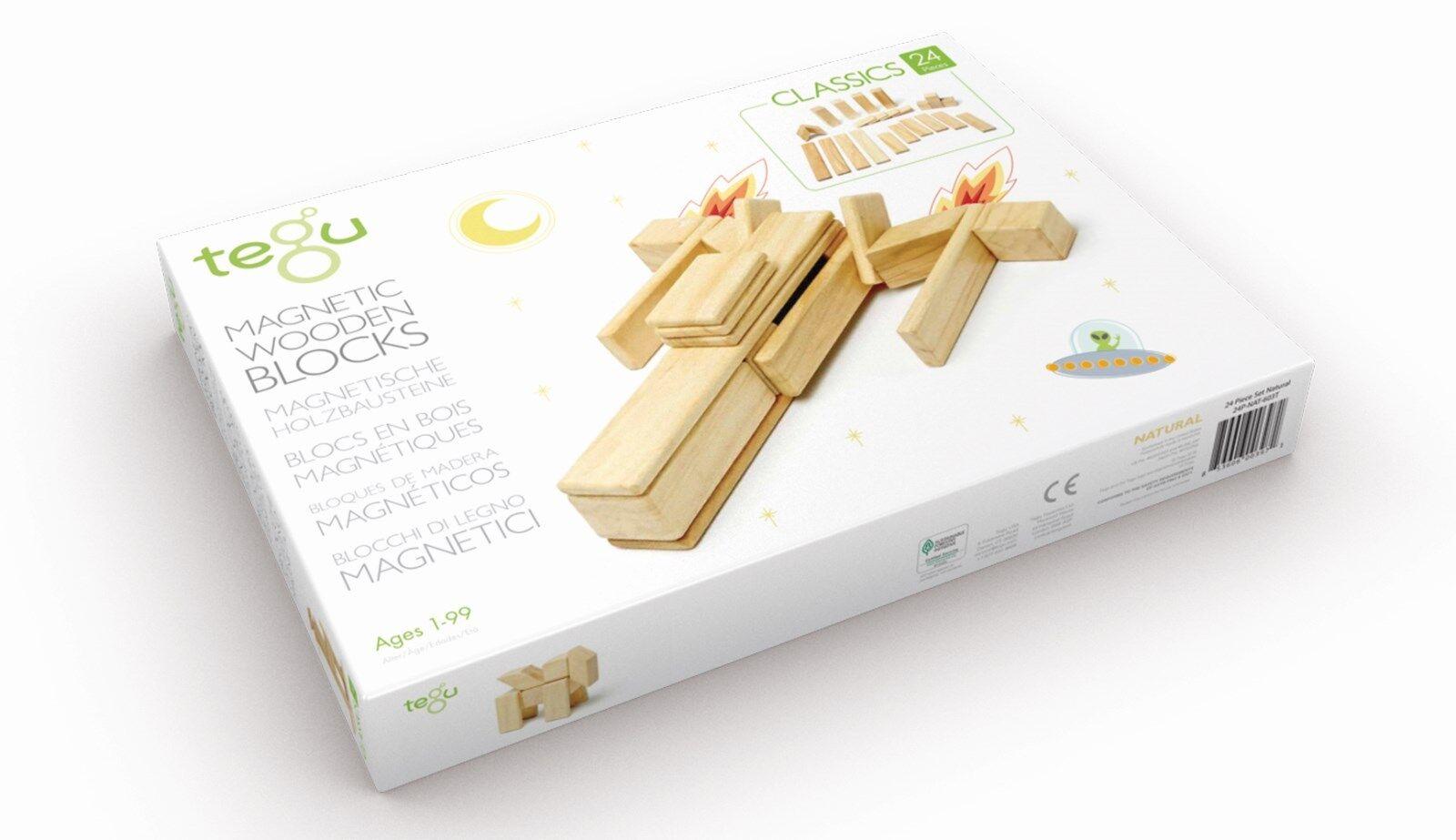 Magnetisches Holzset Natur, 24-teilig, Magnetische Holzbausteine, Tegu Bausteine  | Ausgezeichneter Wert