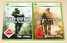 2 XBOX 360 SPIELE SAMMLUNG - CALL OF DUTY 4 MODERN WARFARE 1 & 2 - SHOOTER