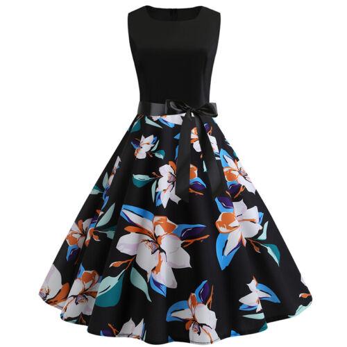 Damen 50er Jahre Retro Kleid Ärmellos Hepburn Party Rockabilly Pinup Ballkleid