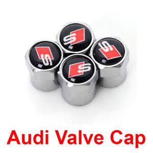 Audi-Valve-Cap-S-Line-Car-Logo-Silver-Wheel-Tire-Stem-Sline-Air-Dust-Cover-Set