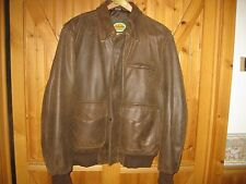Large Men's CABELAS' Leather A-2 Flight Bomber Jacket Brown Md / Canada
