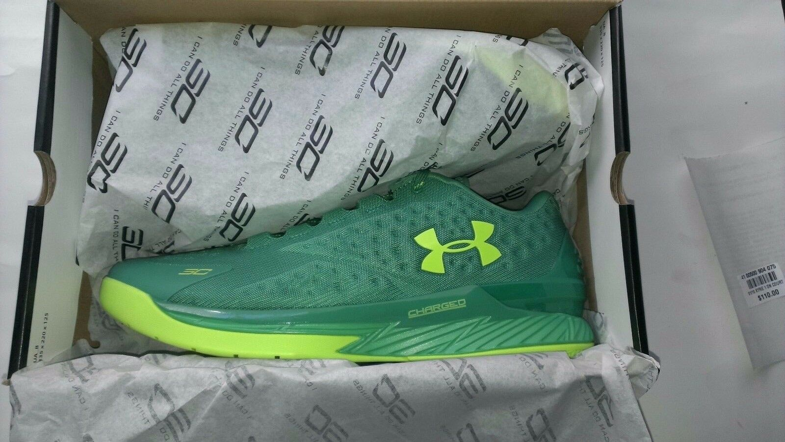 Under Armour UA Curry One 1 Low Scratch Green Size 13 Free Shipping.
