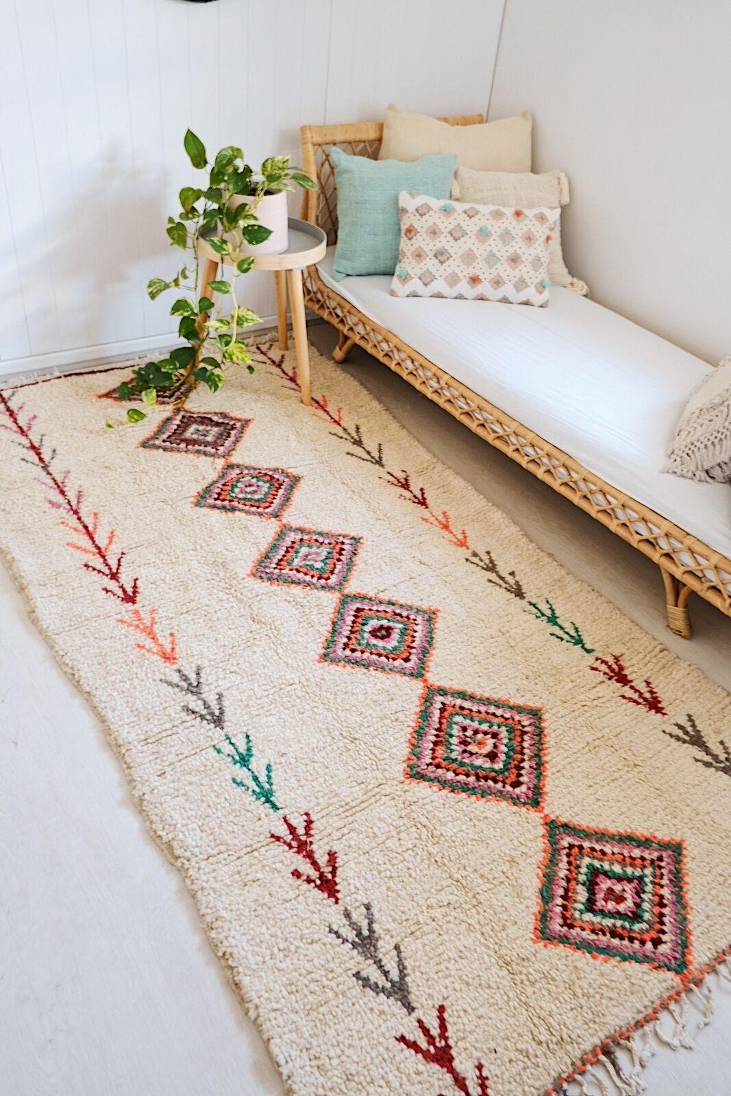 Cali Marfil Lana Alfombra de un tipo Vintage Alfombra de cama de vivero marroquí 250x135