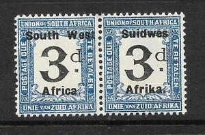 SOUTH WEST AFRICA 1923 3d POSTAGE DUE PAIR MLH SG D22