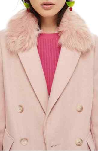 Ex Topshop Womens Naomi Faux Fur Collar Lapel Coat Luxury Jacket Winter Warm UK