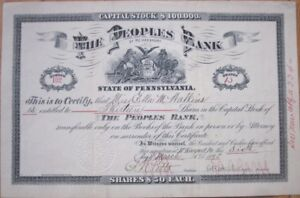 1896-Stock-Certificate-039-The-Peoples-Bank-of-McKeesport-PA-039-Pennsylvania-Penn