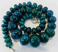 Charming!! 10-20mm Azurite Gemstone Phoenix Stone Roundel Beads Necklace 18""