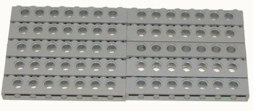 LEGO LOT OF 10 LIGHT BLUISH GREY 1 X 8 DOT TECHNIC BRICKS WITH HOLES PIECES PART