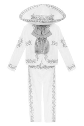 White Boys Baptism Outfit Charro Virgen Guadalupe Mariachi Suit First Communion