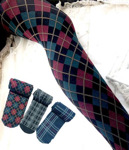 Winter Warm Tartan Argyle Plaid Tights 3 Styles One Size UK 10-14 Gift