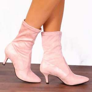 a1baf8abe83c BABY LIGHT PINK SOCK STRETCH KITTEN HEELED ANKLE BOOTS HEELS SHOES ...