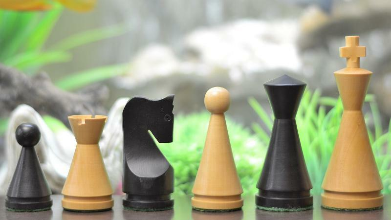 The Classic Series Cone Shaped Chess Pieces in Stained & Box Wood - 4.09  M0040