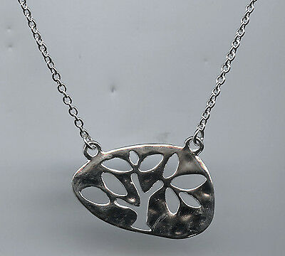 Polished Silver Plated Tree of Life Pendant Necklace